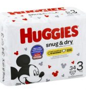 Huggies Snug & Dry Diapers, Size 3, 34Ct